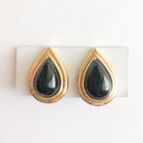 black enamel drop earring[e-1091]