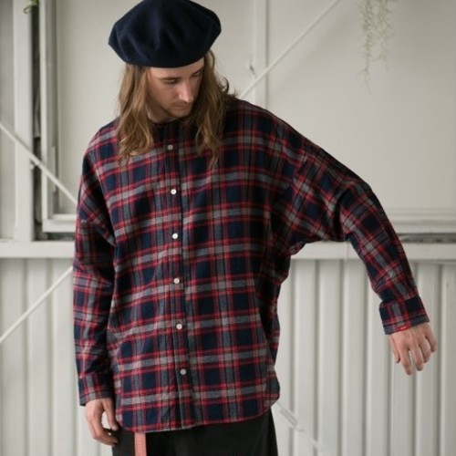 "SAY! / セイ!| "" NO COLLAR DOLMAN CHECKED SHIRTS "" - NAVY CHECK"