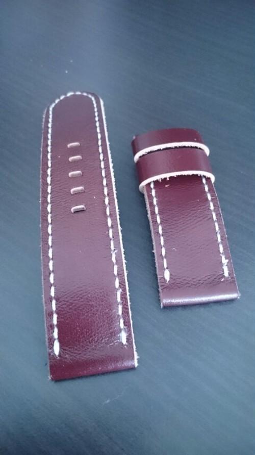 PANERAI用 ハンドメイド時計Strap 24mm ワイン色 ①