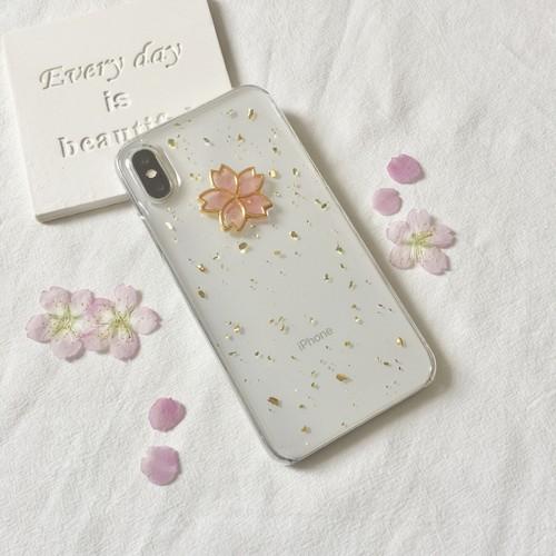 桜と金箔のクリアケース/スマホケース/iPhoneXR/iPhoneXsMax/iPhoneX