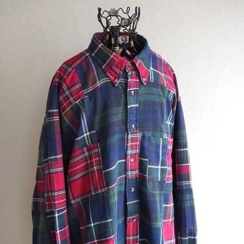 1990's [nautica] インディアコットン パッチワークBDシャツ タータンチェック 表記(XL) ノーティカ