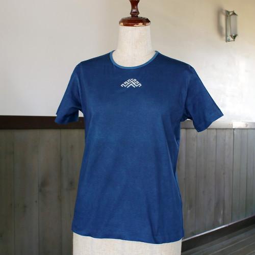ラトビア柄藍染TシャツM(as78)