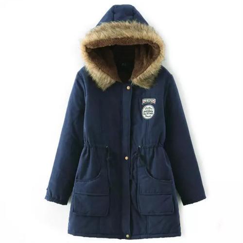 9653アウター レディース  コート  ロング   ミリタリーコート 裏ボア ロング  暖かい 防寒 フード付き 大きいサイズ ネイビー