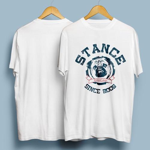 オリジナルオーダーメイドTシャツ作成・犬猫、ペットの名入れ&似顔絵/アメカジエンブレムA