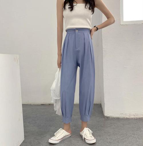2色 テーパードライン ロングパンツ ハイウエスト タック 大きいサイズ ゆったり カジュアル 大人可愛い 韓国 オルチャン ファッション
