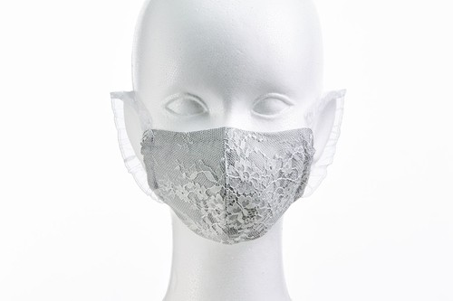S/S リバーレースマスク (シャンタン&メッシュ) ZE11951 (ナチュラル 花柄) [Color:3色] - 日本製
