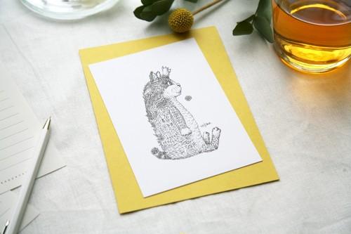 酒井ひさお「無言アピール」活版印刷のポストカード・グリーティングカード/猫・ネコ