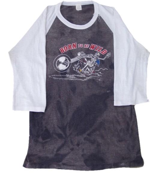 80's BORN TO BE WILD SKULL×Harley Davidson Print T-Shirts(黒白)