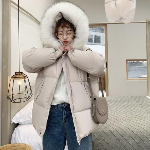 【アウター】合わせやすい韓国風フワフワ長袖無地厚い保温2色ダウンコート