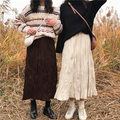 【送料無料】 くしゅくしゅルック♡ レトロ ナチュラル シワ加工 ロング フレア スカート ウエストゴム