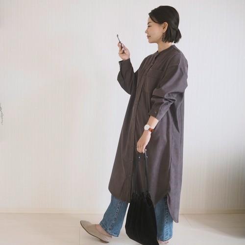 ジャガード コーデュロイ ロングシャツ / チャコールグレー