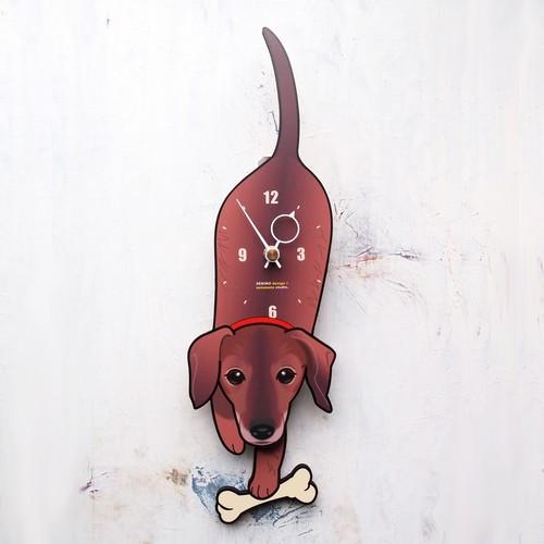 D-044 スムースダックス-犬の振り子時計