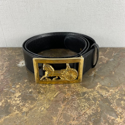.CELINE 85 CARRIAGE LOGO LEATHER BELT MADE IN ITALY/セリーヌ馬車ロゴレザーベルト2000000052373