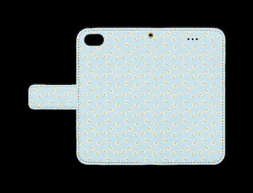 マーガレットの手帳型iPhoneケース(iPhone 7 / 8 / SE2 用)アクアブルー