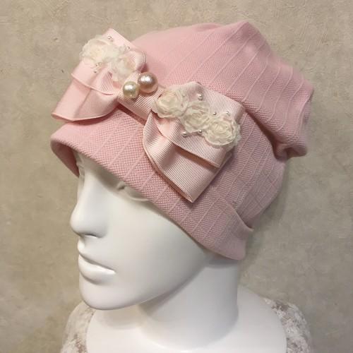 薔薇のレースのケア帽子 ピンク