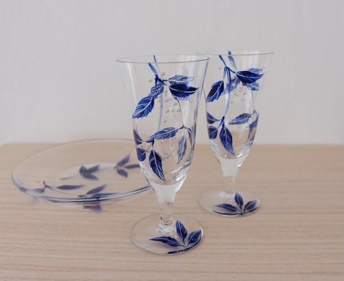 【ブルーリーフ】冷酒グラス1個|両親プレゼント・退職祝い・送別品・新築祝い・結婚祝い
