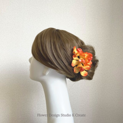 オレンジの蘭のUピン(PA S:4本セット)髪飾り 浴衣 髪飾り オレンジ モカラ ラン