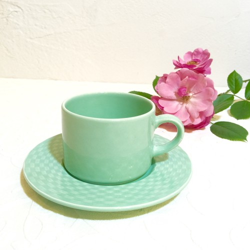 60's Italian Vintage Turquoise Coffee Cup&Saucer [CCV-10]