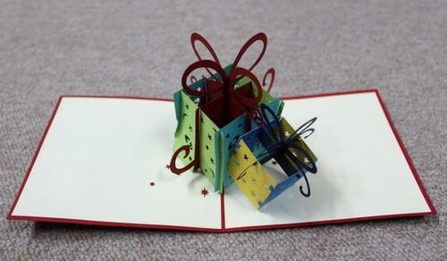ポップアップカード プレゼントボックス グリーン