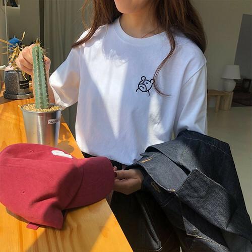 【トップス】ファッション動物柄コットン刺繍半袖Tシャツ