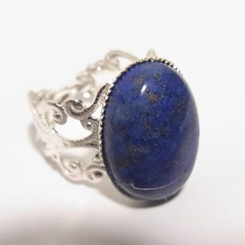天然石、ラピスラズリのリング フリーサイズリング 5811R