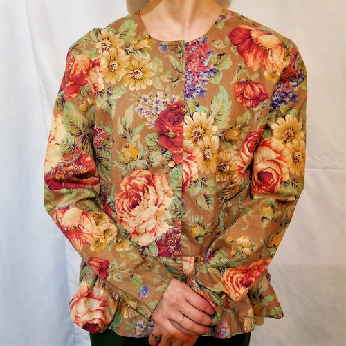Flower pattern peplum blouse /Made In Portugal [H-60]