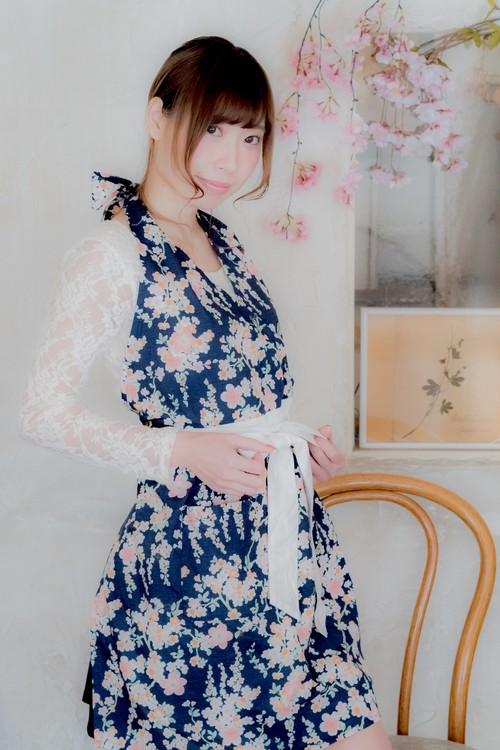【結婚祝い、誕生日に♪】桜柄 エプロン ネイビーピンク