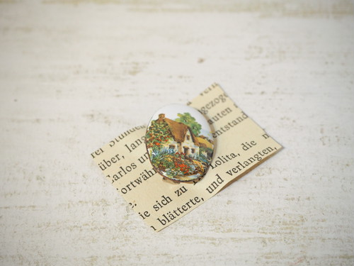 Antique Pottery Pastoral Landscape Brooch [A-353]
