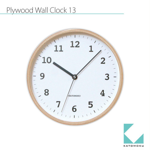 KATOMOKU plywood wall clock 13 km-84NRC 電波時計