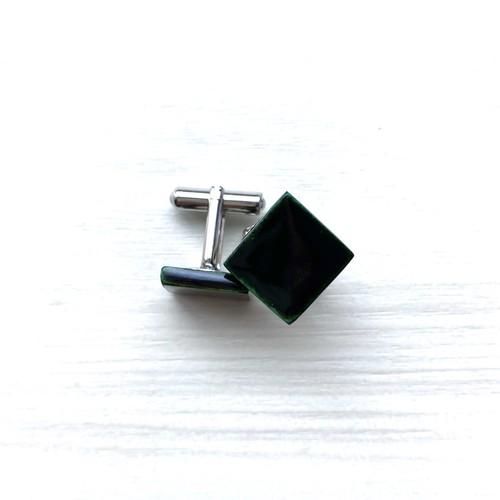 飛騨春慶塗 カフスボタン 緑 四角(CUF06)