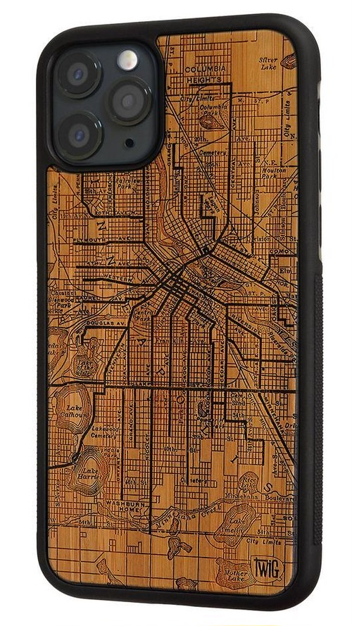 Minneapolis Streetcar Map - Bamboo - iPhone 11/11 Pro