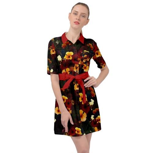 ハイビスカス Black ベルテッドシャツドレス