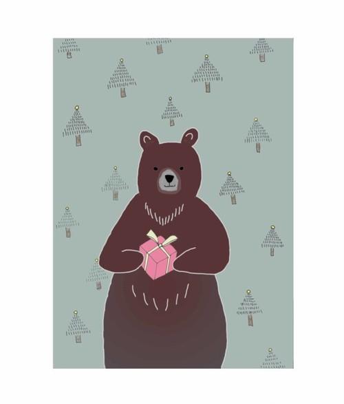 818【クマさんのクリスマスプレゼント*北欧風インテリアポスター】A4・A3