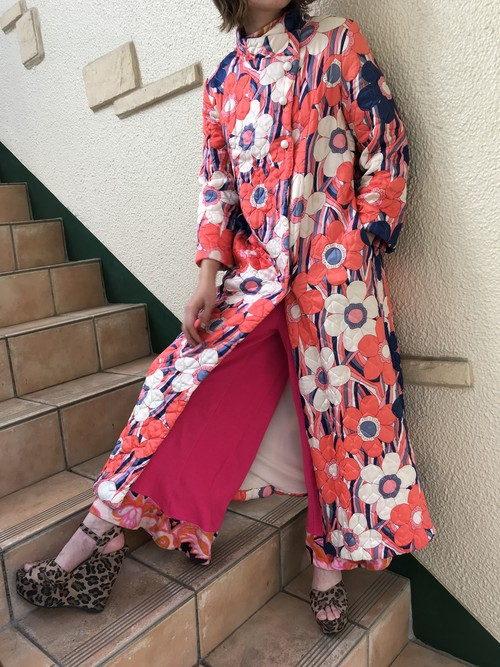 70s floral print quilting coat ( ヴィンテージ キルティング コート )