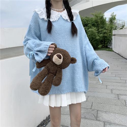 【3点セット】リボン袖セーター+ブラウス+プリーツスカート ・9805