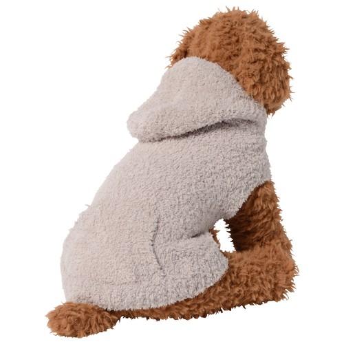 【ご好評につき送料無料 1月31日まで】  犬服(ドッグウェア) ペット服 ふわふわニット パーカー シンプル無地 グレージュ