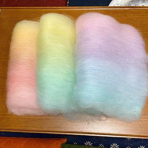 虹色バッツセット 手紡ぎ毛糸用ブレンド羊毛 OGY23)