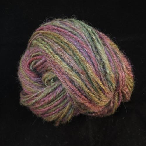 手紡ぎ毛糸:コリ+ゴッドランド:紫 緑系:100g