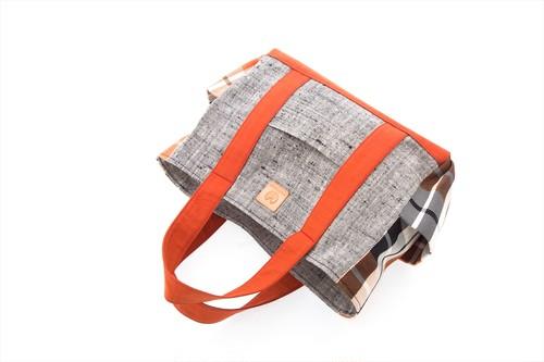 帯トートバッグ大 / オレンジ・グレー(W0107)着物・帯・正絹使用