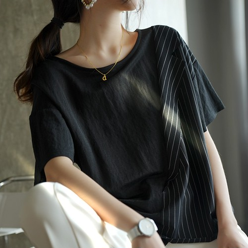 2色/デザインニッチクルーネックTシャツ ・2362