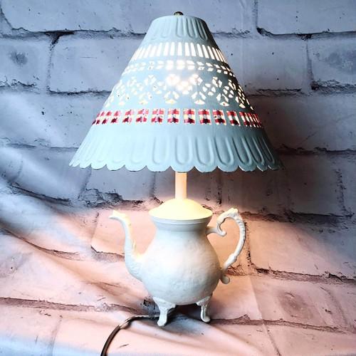 品番4561 スタンドライト テーブルランプ ホワイト ポット型 陶器製 照明 インテリア レトロ アンティーク