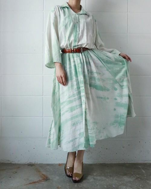 mint green × white dress