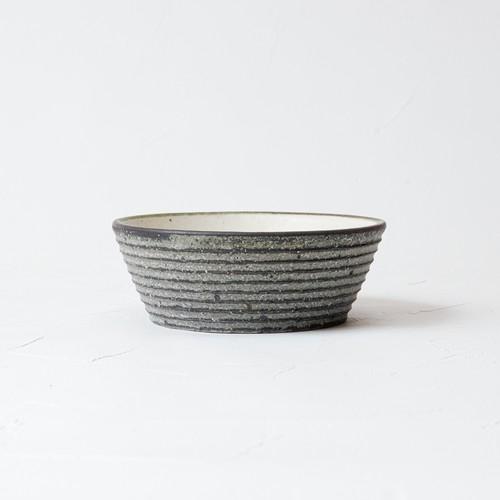 [沖 誠]4寸平鉢(炭化ボーダー)