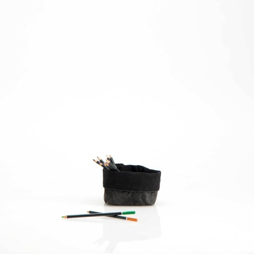 コットン裏地 ペーパーバッグ 小物入れ 収納ボックス 【黒・Sサイズ】モノトーン