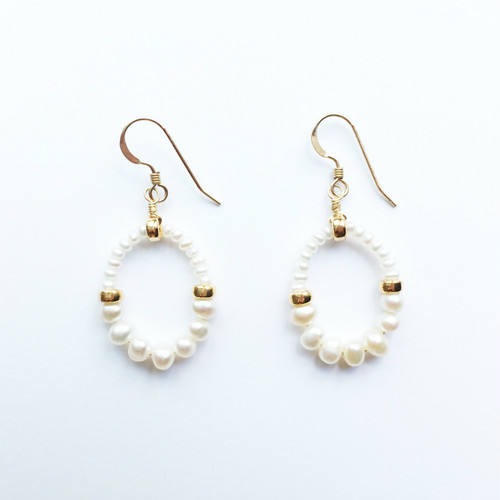 GRACE Pierced Earrings|Freshwater Pearl,14KGF