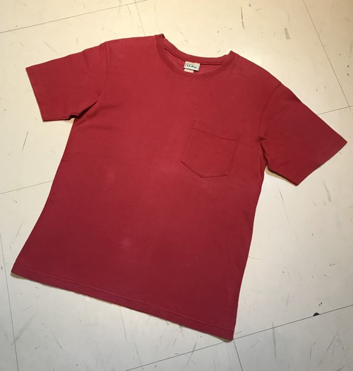 Old L.L.Bean Pocket Tee M 無地 MADE IN USA 赤
