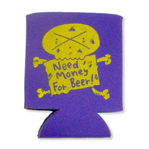 Need Money For Beer 紫x黄 KOOZIE