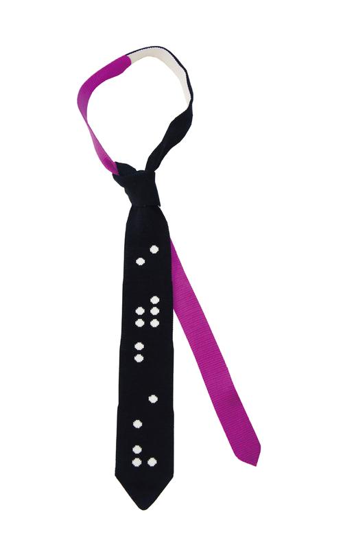 点字のニットタイ(意味は おもいやり) Brille tie