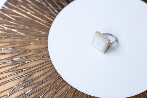 131伝統文化品美濃焼多治見四角タイル指輪・リング(フリーサイズ) ブルーシリーズ003