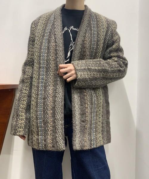 1960s wool mix knit no collar jacket 【M位】